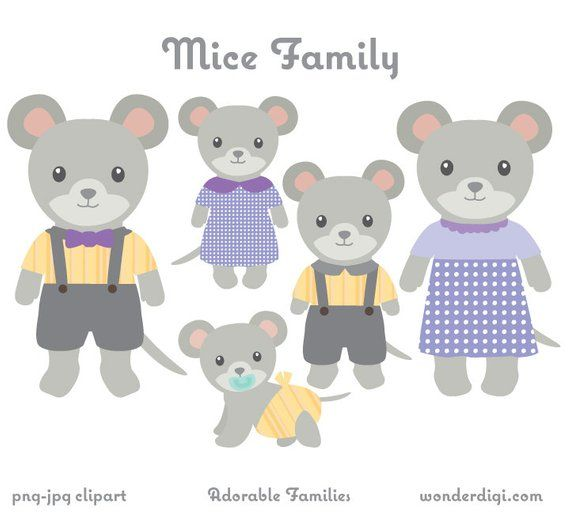 Animal Clipart Mice Family Clip Art Mouse Clipart Animal Family Clipart Cute Animals Susseste Haustiere Etsy Clipart