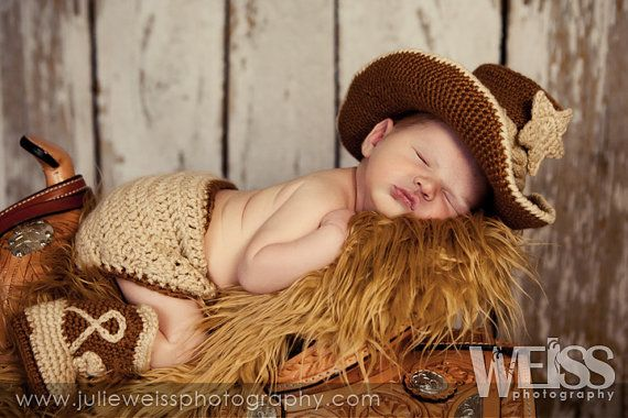 Baby cowboy boots and hat and diaper cover caramel and tan you pick the colors and size on Etsy, $75.00
