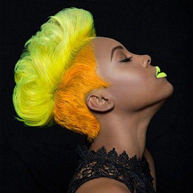 PINK ORANGE YELLOW GREEN BLUE. chromasilk Neons,bright hair color ,radient red ,bombshell brunette , Pravana