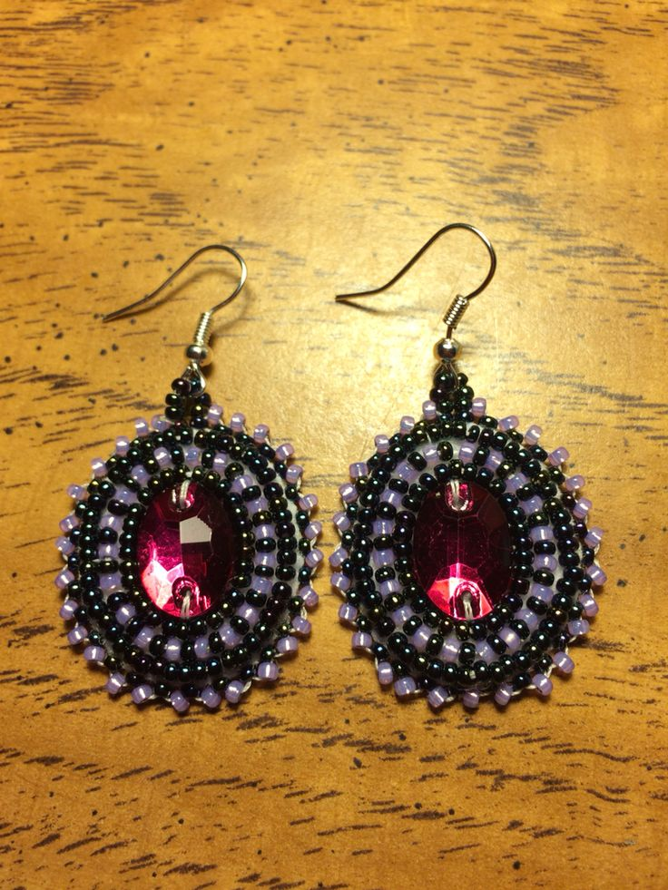 Purples beaded earrings