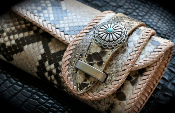 Leather Wallet Genuine Exotic Python Snake by Mygoth (GSLW004)