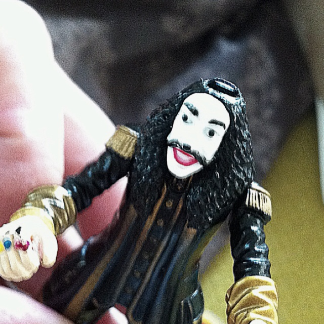Freaky toy pirate looking like Guy Fawkes