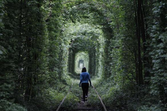 walking on the train tracks.