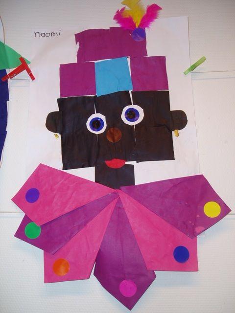 * Zwarte Pietenhoofd en muts van 16 vierkantjes, los knippen opplakken, kraag van vliegers!