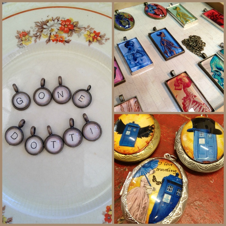 Consisting of pendants, cufflinks, earrings, rings, bracelets & brooches made from interesting images, glass, resin, glue, paper, timber and recycled materials….to create eclectic, wearable jewellery with a sense of humour!  Available from Young Designers Market at the  'Gone Dotti' stall.