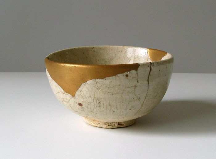 beautifully repaired ceramic bowl