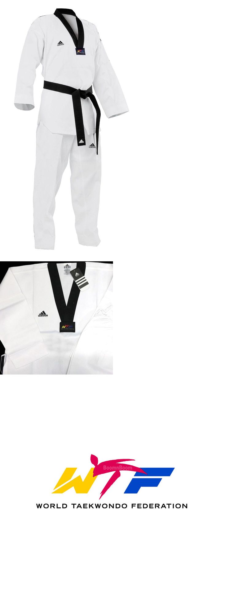 Uniforms and Gis 179774: New Adidas Taekwondo Uniform Adi-Club Tkd Dobok Set W/ White,Black V Neck-Wtf -> BUY IT NOW ONLY: $57.99 on eBay!