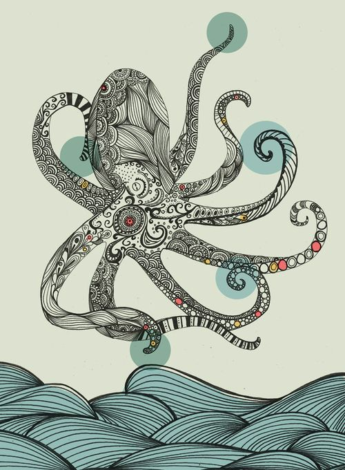 Sea creatures by Rachel Russell, via Behance