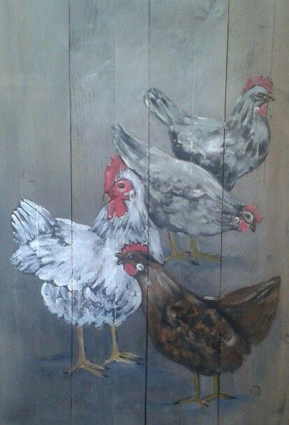 Kippen op hout