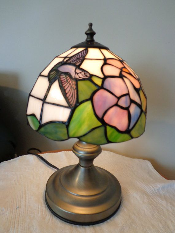 Hummingbird tiffany table lamp with pewter base touch lamp stained glass style lamp