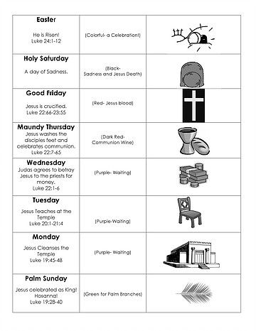 FREE **www.WorshipwithChildren.com** Printable charts for Holy Week. Includes Scripture references, symbols, colors, and titles.