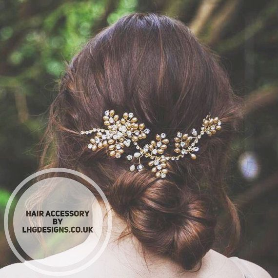 Bridal headpiece bridal hair accessories. Pearl gold by LHGDesigns Bridal hair vine in gold bridal hairstyles