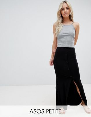 a5b426a875dd Image 1 of ASOS DESIGN Petite maxi skirt with button front and split detail
