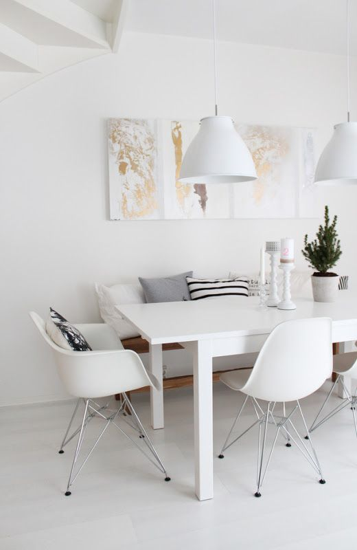 Dining room table with bench and eames chairs | Cecilies Lykke