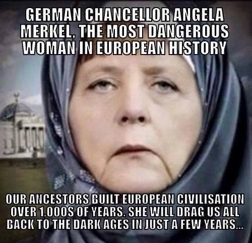 GERMAN dictator Angela Merkel's New Year's televised speech, with Arabic subtitles, condemned German citizens for not welcoming Muslim invaders into their hearts