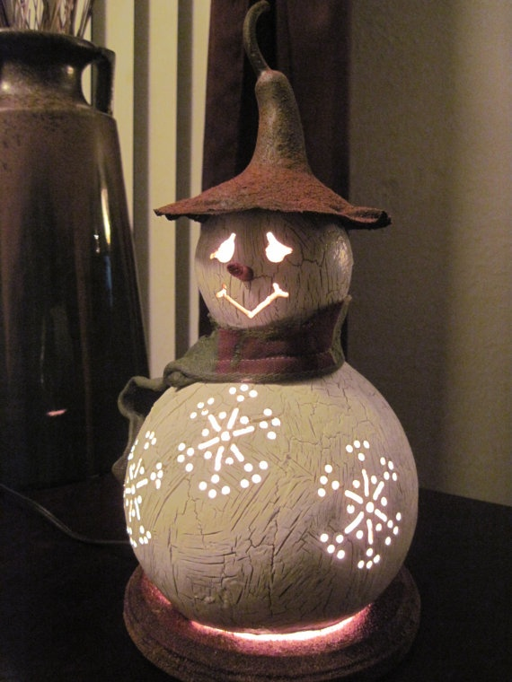 Snowman gourd lamp small by tamiredding on Etsy, $40.00