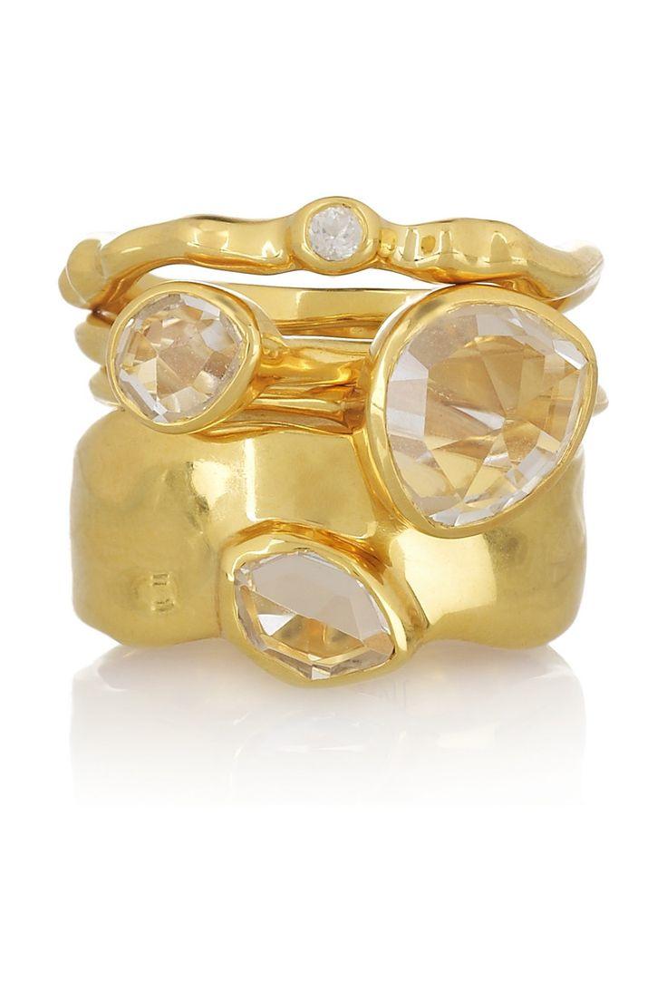 Monica Vinader~Set of 4 18-karat gold-vermeil stacking ringswith white topaz