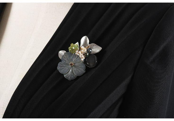 Поощрительная женщина! Итальянская ручной дворец расширенный настройки оболочки естественный гравий кот листья цветок брошь - глобальной станции Taobao