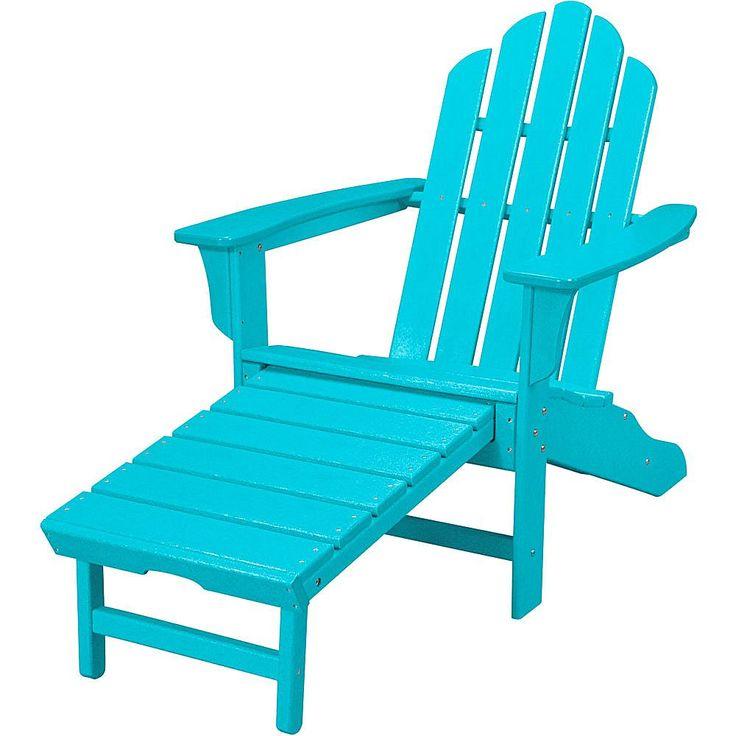 Hanover All-Weather Contoured Adirondack Chair with Hideaway Ottoman - Aruba