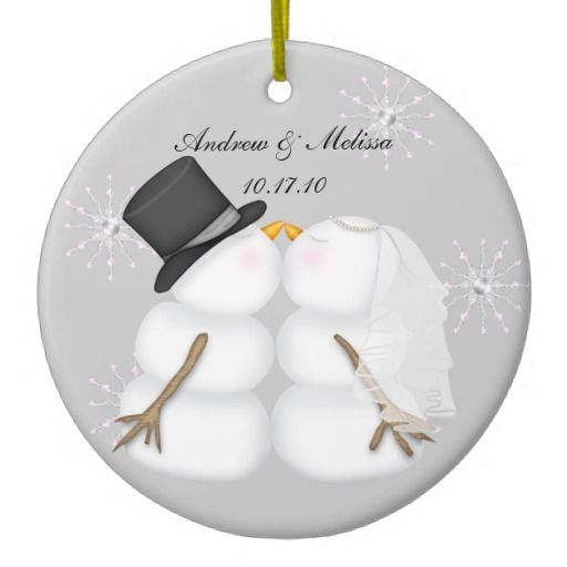 First Christmas ornament kissing snowmen Customize it with your name and wedding date. Copyright: © 2010