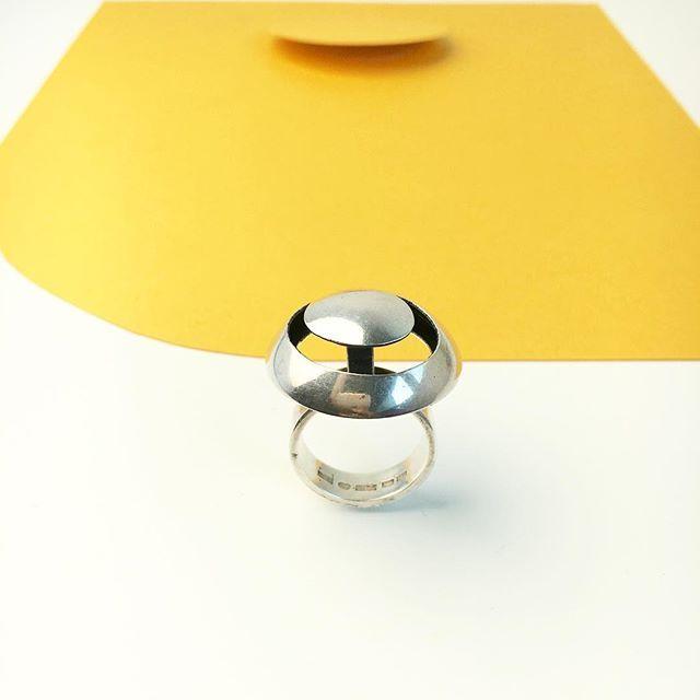 A rare #Aarikka silver ring designed by #KaijaAarikka in 1969.