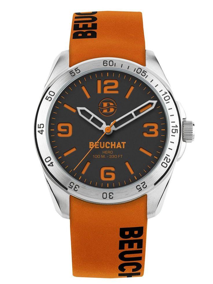 MONTRE BEUCHAT - COLLECTION HERO COLOR 2 - BRACELET ORANGE - FOND NOIR - ETANCHE 100M - REFRENCE BEU0346/93: Amazon.fr: Montres