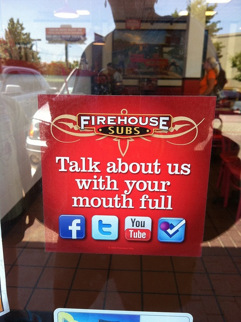 Great example of a social media welcome sign. Go Firehouse Subs!
