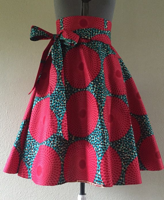 Beautiful African Wax Print High Waisted A-line Skirt With Removable Tie Belt Watermelon Pink Turquoise Nsu Bura Print 100% Cotton