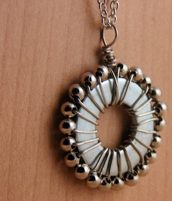 I love the industrial feel!  Necklace Pendant Wire Wrapped Hardware Jewelry