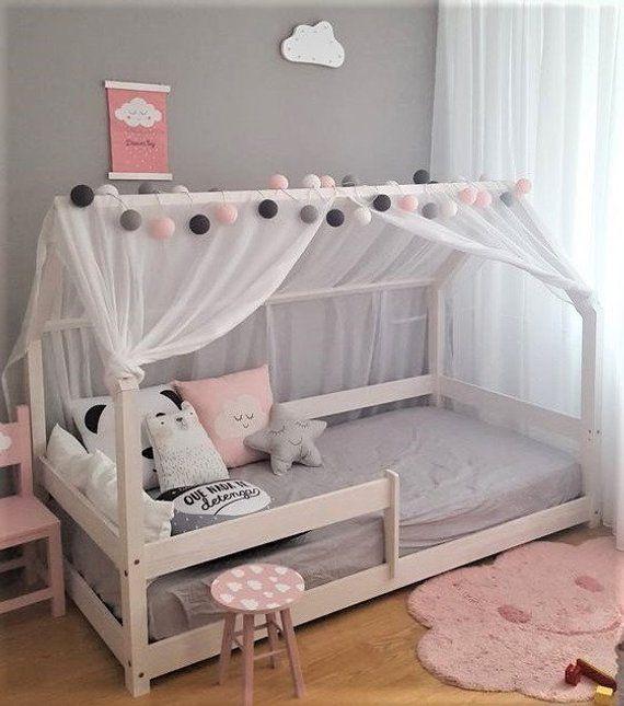 Lit Cabane Montessori Milo Couleur Avec Ou Sans Barrieres Etsy