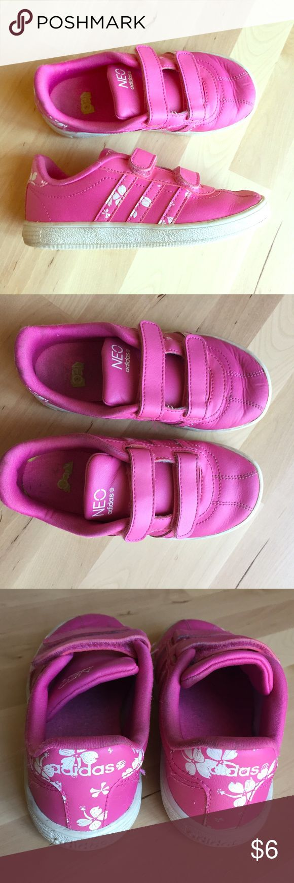 Adidas neo sneaker Cute adidas NEO sneakers pink. My daughter wore them a lot. No holes! Soles have some discolorations. Adidas Shoes Sneakers