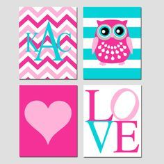 Baby Girl Nursery Art Quad - Set of Four 8x10 Prints - Striped Owl, LOVE, Chevron Monogram Initial, Simple Heart - Choose Your Colors by Tessyla on Etsy https://www.etsy.com/listing/121665575/baby-girl-nursery-art-quad-set-of-four