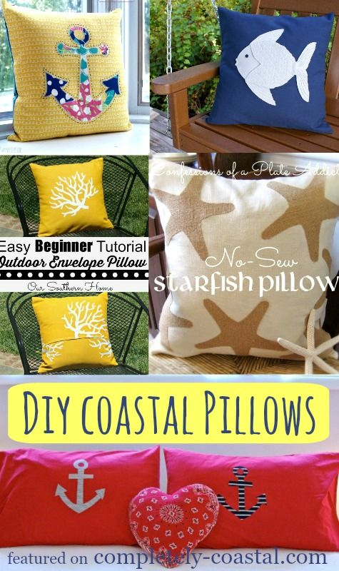 A Dozen DIY Ideas for Coastal Pillows! Make a Nautical, Coastal or Beach Pillow. A One Of A Kind! Featured on CC: http://www.completely-coastal.com/2015/02/diy-nautical-coastal-beach-pillows-tutorials.html