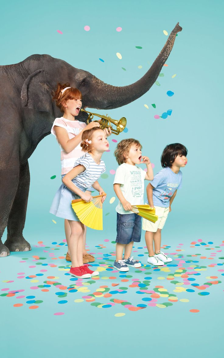 And eveyone throws confetti (including the elephant)!