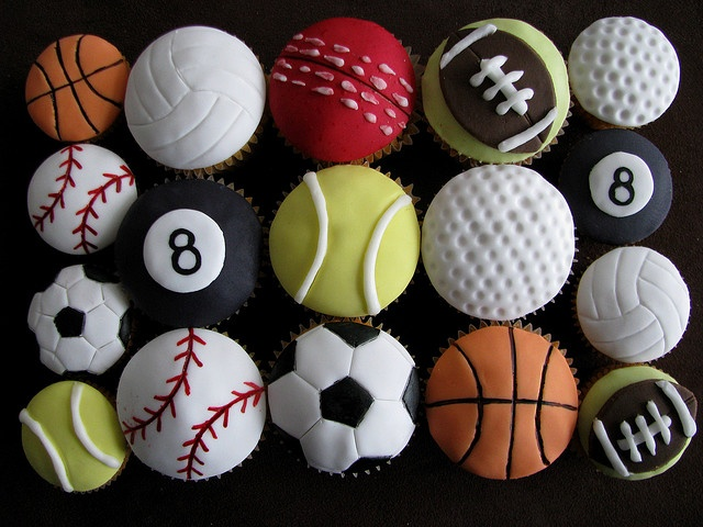 Sport Ball Cupcakes by Sharon Wee Creations, via Flickr