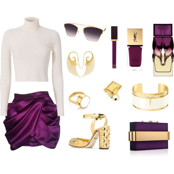 How to...do purple chic winter look by vicky-angelidou-pappas on Polyvore featuring A.L.C., Balmain, Dolce&Gabbana, Noor Fares, StyleRocks, AQS by Aquaswiss, Tom Ford, Christian Louboutin, Yves Saint Laurent and Rauwolf