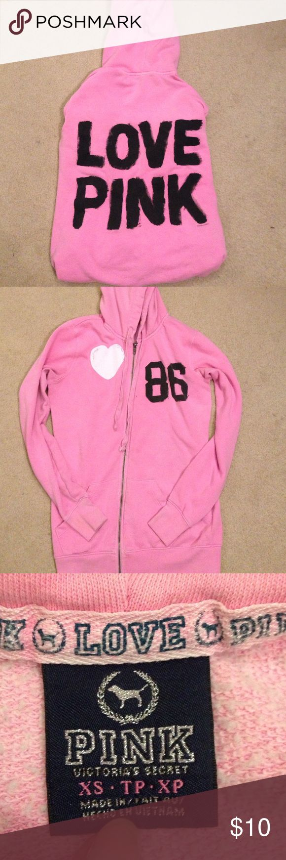 Victoria's Secret PINK zip up hoodie Lightly used but in great condition VS hoodie. Size XS but runs a little bigger because it's supposed to be a looser fit. Very comfy Victoria's Secret Sweaters