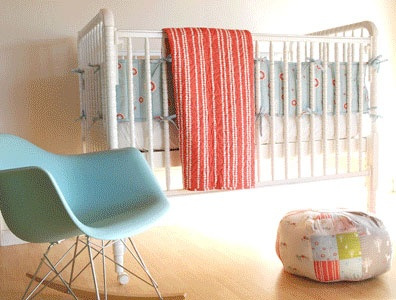 Love this vintage crib & the clean WHITE with pale blue :)  Great color scheme.