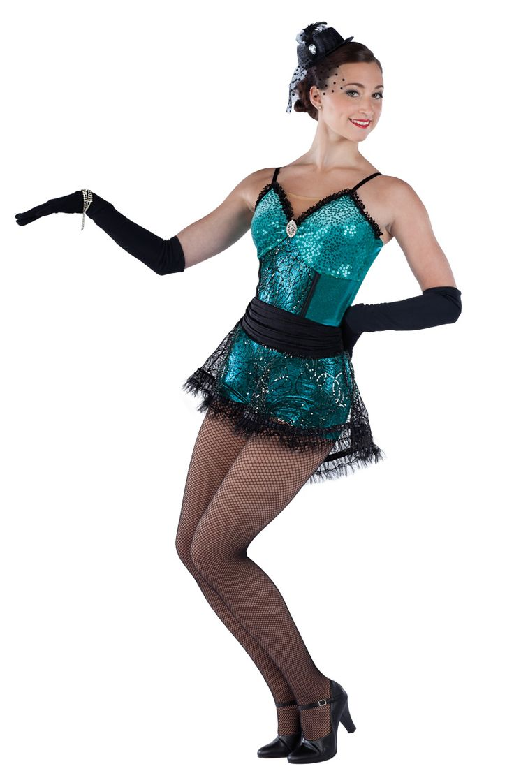 15340 We're In The Money | Tap Jazz Funk Dance Costumes | Dansco 2015 | Teal foil printed spandex and sequin on velvet short unitard with nude mesh insert, black sequined raschel knit overlay and adjustable black elastic straps. Separate matching skirt with black spandex gathered waistband. Black lace, brooch and pleated ribbon/mesh metallic fringe trim. Headpiece included.