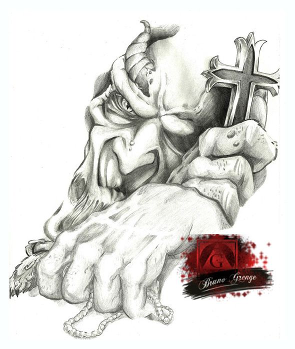 Evil Monster and Cross Tattoo by Grenge.deviantart.com on @DeviantArt