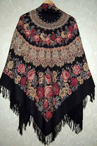 russian kerchief from the  town  Pavlov Posad