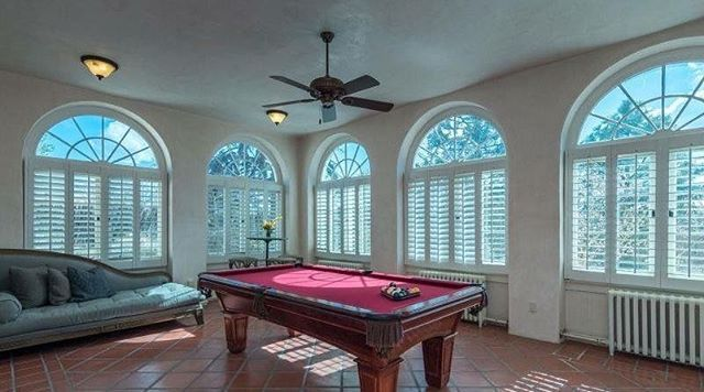 The Senator's Estate has a billiard room with regulation size pool table. It's the Perfect way to unwind after a day of soaking up Santa Fe!  #AdobeDestinations #SantaFeLuxuryRentals #SenatorsEstate