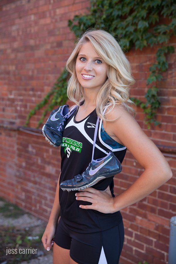 Senior Girl Track Picture With Shoes (click to see more sports photo ideas for seniors)