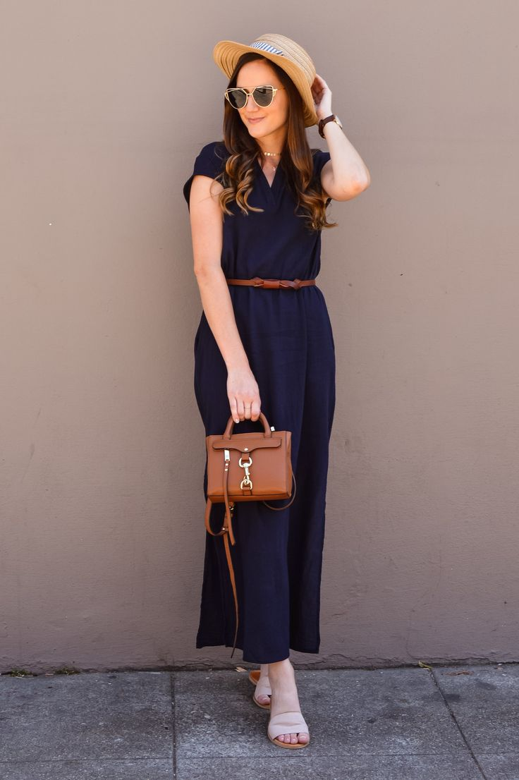 Navy maxi dress, nude slide sandals, blush slide sandals, navy and brown outfit, belted maxi dress, navy and cognac outfit, 4th of july style, straw boater hat outfit, cognac crossbody, neutral maxi dress, effortless summer style