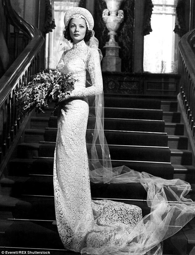 Gene Tierney married Oleg Cassini in 1941, wearing one of her husband's own designs