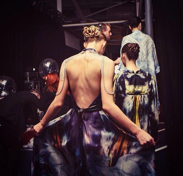 Éadach Pirate Queen silk dress backstage at Belfast Fashion Week