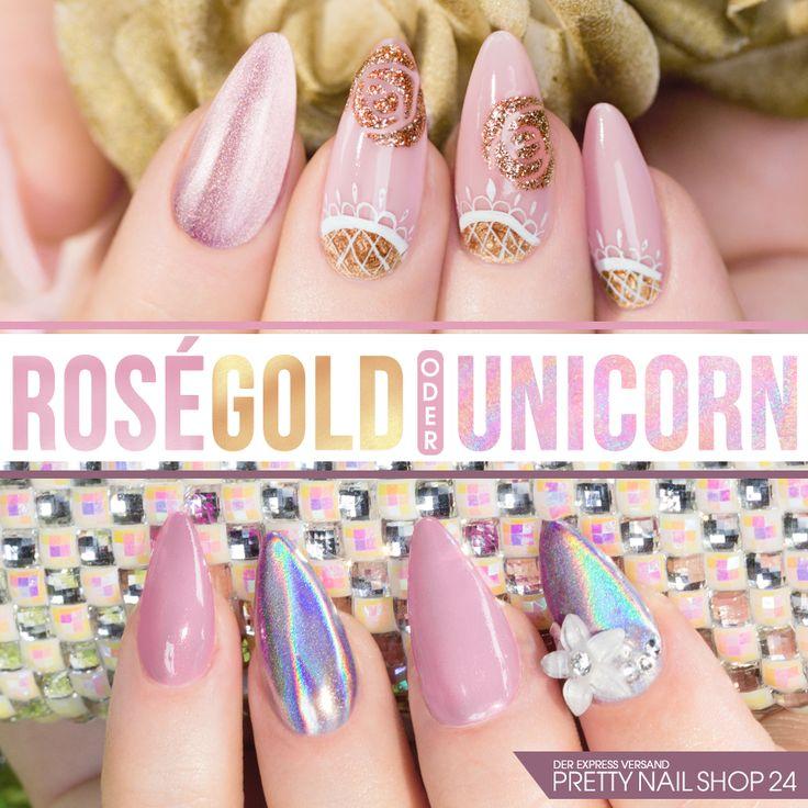 #rosegold   #unicorn   #nailart   #nails   Mit Nägeln in Rosé-Gold macht man eigentlich immer eine gute Figur. Jetzt bekommt der Klassiker vom schillernden Unicorn-Look Konkurrenz. Wofür entscheidet Ihr Euch? Eure Martina