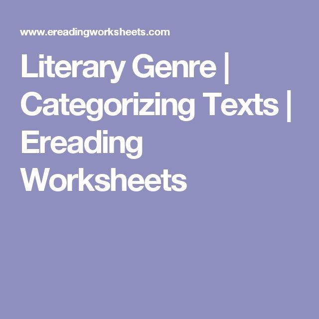 Literary Genre   Categorizing Texts   Ereading Worksheets