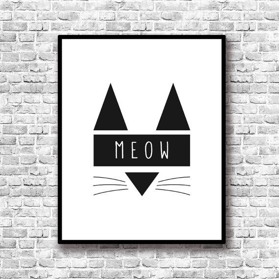 Cat Art Print Printable Meow Prints Wall Decor by TheFactory17