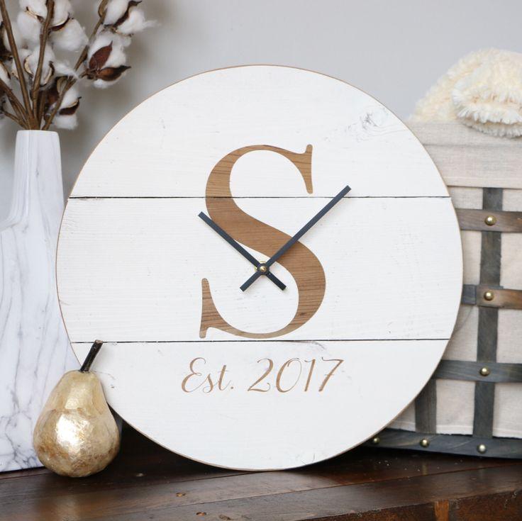 Wedding gift. Custom. Personalized clock. Wooden wall clock. Personalized clock. Customized clock. Family gift. Wall hanging. Monogram by WoodLaneCreationsLLC on Etsy https://www.etsy.com/listing/506522879/wedding-gift-custom-personalized-clock